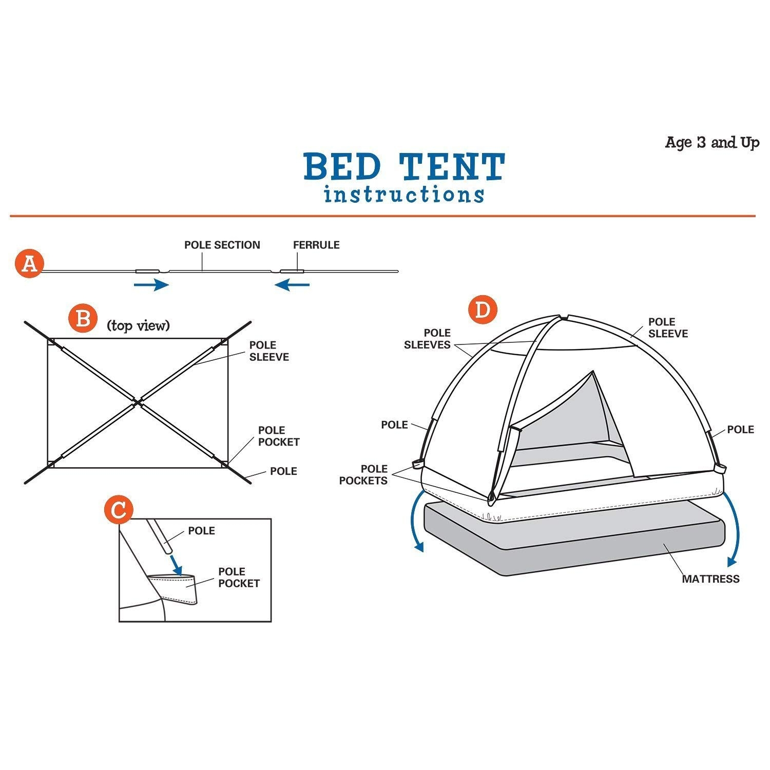 Pacific Play Tents Flower Bed Tent Twin Size Bed Tent Dream Tents
